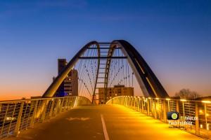 Dreiländereckbrücke Weil am Rhein blaue Stunde