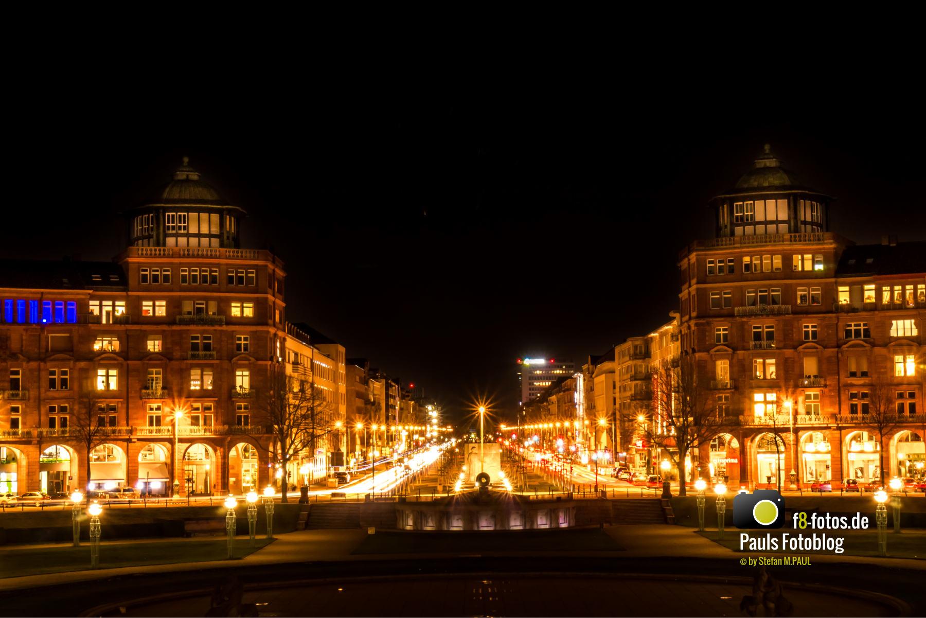 Mannheim Augusaanlage bei Nacht