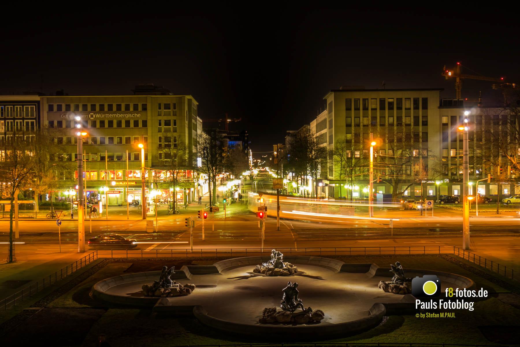 Blick in die Fußgängerzone Mannheim bei Nacht