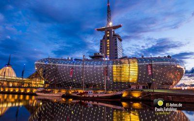 Klimahaus Bremerhaven zur blauen Stunde