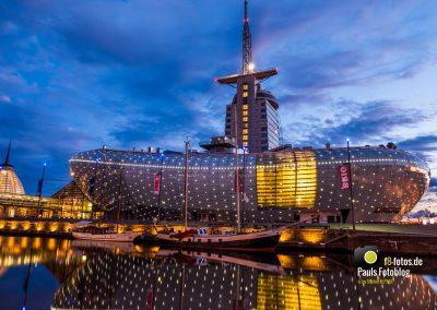 Klimahaus in Bremerhaven zur blauen Stunde